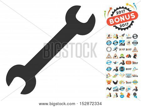 Wrench icon with bonus 2017 new year images. Vector illustration style is flat iconic symbols, modern colors, rounded edges.