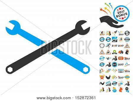 Wrenches icon with bonus 2017 new year graphic icons. Vector illustration style is flat iconic symbols, modern colors, rounded edges.