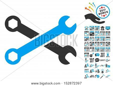 Wrenches icon with bonus 2017 new year design elements. Vector illustration style is flat iconic symbols, modern colors, rounded edges.