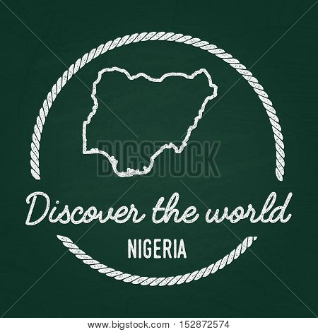 White Chalk Texture Hipster Insignia With Federal Republic Of Nigeria Map On A Green Blackboard. Gru