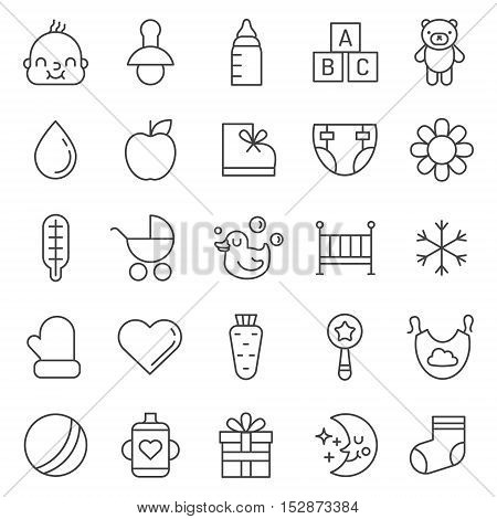 Baby (girl and boy) things outline cute icons vector set. Clean and simple design.