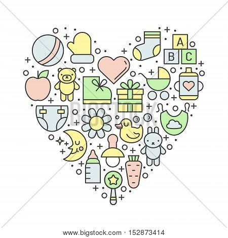 Baby (girl and boy) things outline multicolored cute vector heart illustration. Clean and simple design.