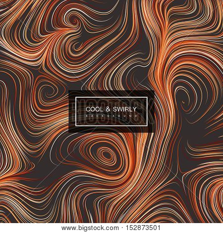 Abstract artistic curl background with swirled stripes. Vector vintage illustration. Curled vortex stripes background. Marble or acrylic texture imitation. Abstract psychedelic background