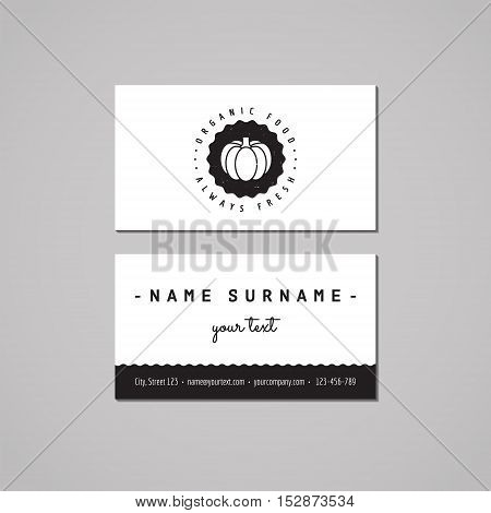 Organic food business card design concept. Logo with pumpkin and badge. Vintage hipster and retro style.