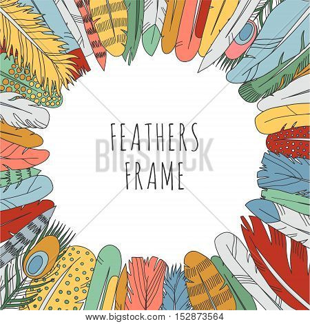 Feathers doodle multicolored frame. Cartoon naive style.