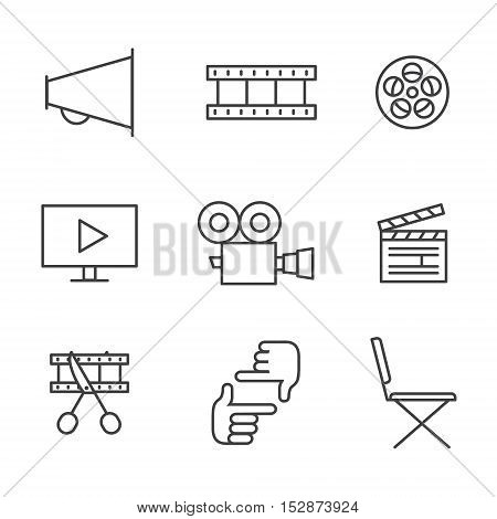 Film movie and video outline icons vector set. Clean and simple design.