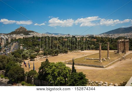 Lovely View Of Temple Of Zeus From The Roof In Athens, Greece