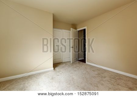 Empty Beige Room With Carpet Floor And A Closet