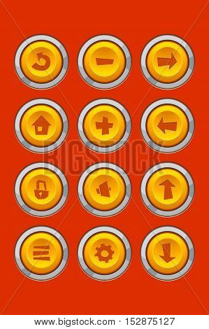 illustration of fun game set icons for applications
