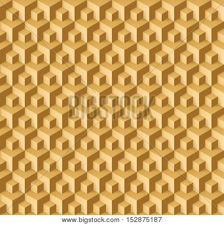 Abstract geometric background with cubes in light brown shades for design
