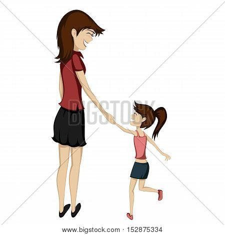 Brunette mom and daughter are holding hands and smiling at each other