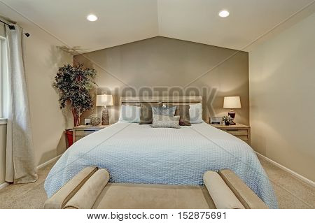 Elegant Bedroom Interior With Pale Blue Bedding