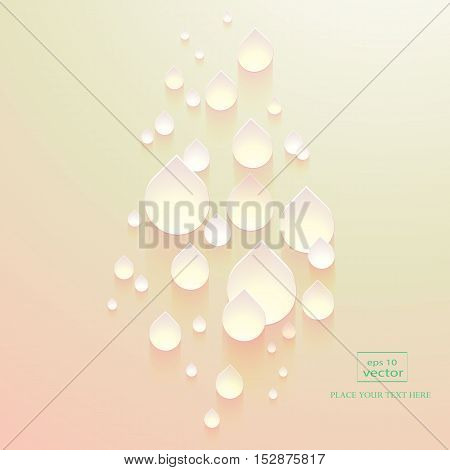 3D drops water with a gradient of pastel colors on abstract pink background