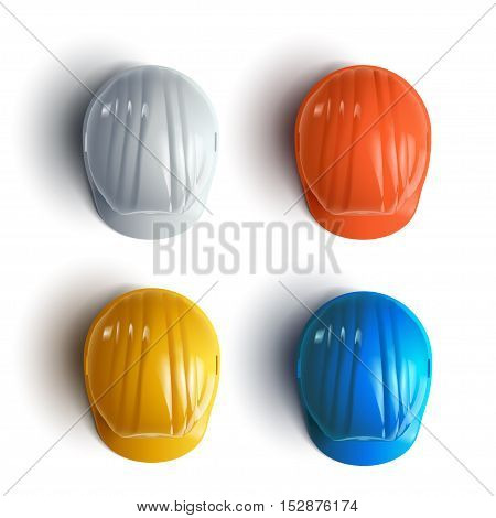 illustration of set different colors construction helmets with shadows on white background