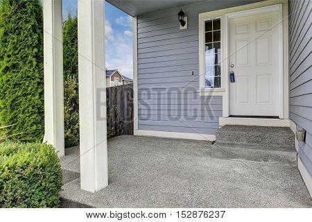 Entrance Porch With Concrete Floor And Columns