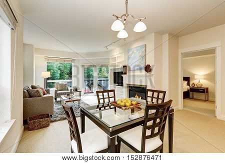 Fresh Apples On Modern Dining Table . Apartment Interior