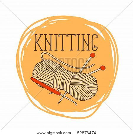 theme of circular patterns of knitting.It can be used for stickers and labels