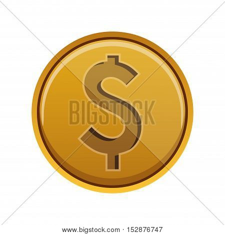 gold money coins over white background. economy and financial item. vector illustration