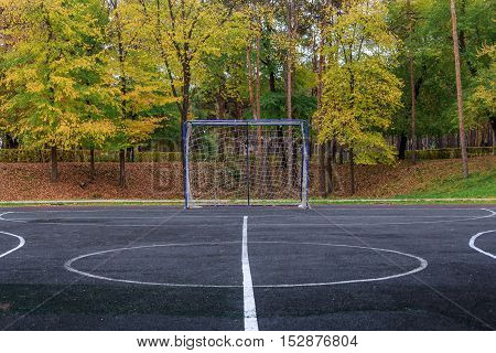soccer goal on the playground in the open air on the background of autumn trees