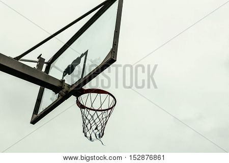 Street basketball board on a background of  sky