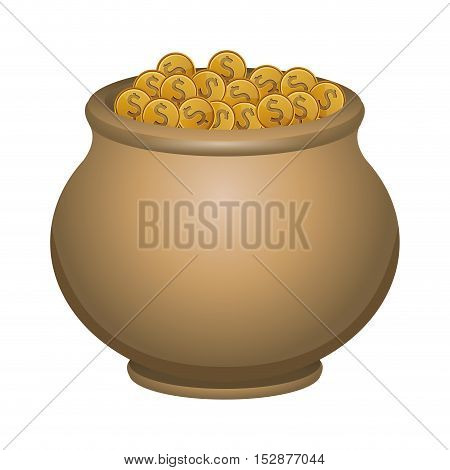 money gold coins in a pot over white background. vector illustration