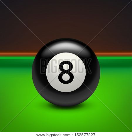 illustration of black eight ball with shadow on billiard table