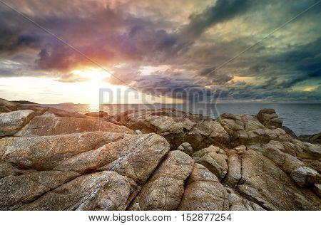 Sea Stone In The Dark Weather
