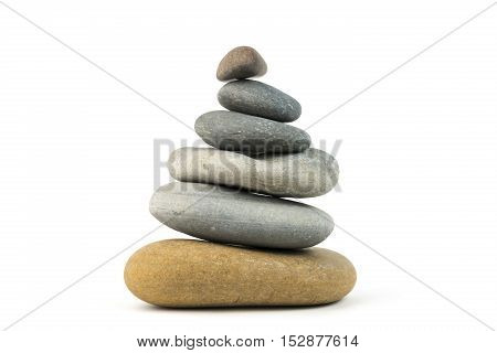 Stones stacked on top of each other. Isolated on white background.