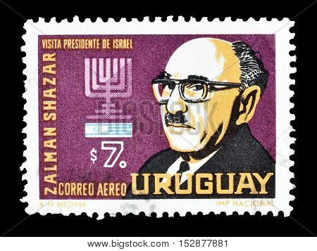 URUGUAY - CIRCA 1966 : Cancelled postage stamp printed by Uruguay, that shows Zalman Shazar.