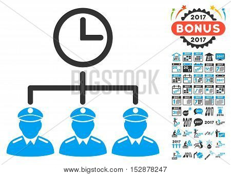 Time Army pictograph with bonus 2017 new year design elements. Vector illustration style is flat iconic symbols, modern colors, rounded edges.