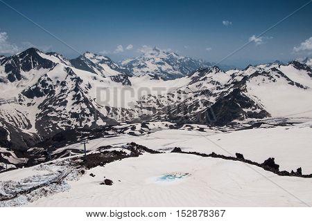View from mount Elbrus to the Main Caucasian Ridge Republic of Kabardino-Balkaria Russia.