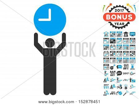 Time Manager pictograph with bonus 2017 new year images. Vector illustration style is flat iconic symbols, modern colors, rounded edges.