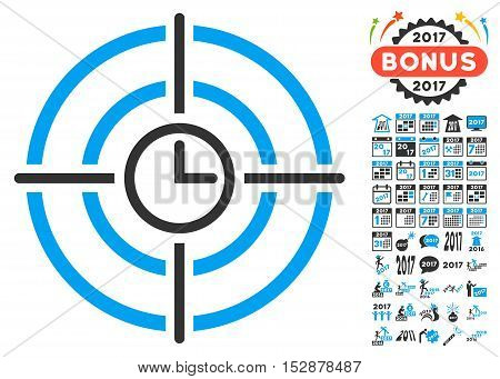 Time Target icon with bonus 2017 new year pictures. Vector illustration style is flat iconic symbols, modern colors, rounded edges.