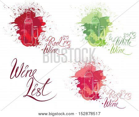 Set of elements in grunge style with bottle and glass isolated on white background. Handdrawn text Wine list Family Winery. Design for restaurant bar cafe menu or label.