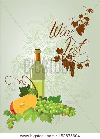 Wine bottle cheese and green grapes and leaves on beige floral ornamental background. Calligraphic handdrawn text Wine list. Element for restaurant bar cafe menu or label.