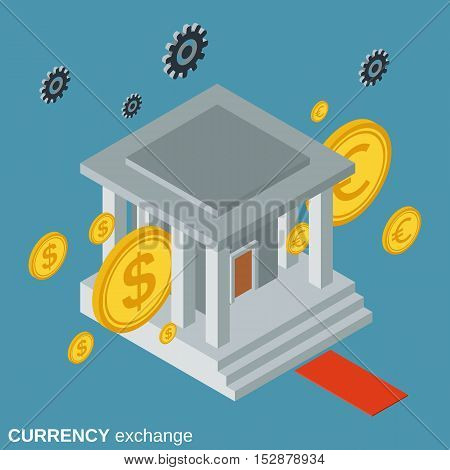 Currency exchange, money transfer, financial transaction flat isometric vector concept illustration