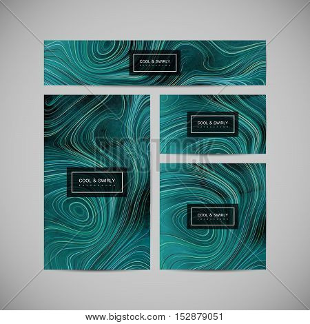 Business cards, cover, banner, brochure and flyer design template with swirled stripes and watercolor texture. Vector illustration. Marble or acrylic texture imitation. Corporate identity template. Branding design