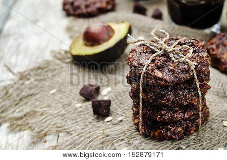 vegan avocado cashew butter oats chocolate cookies