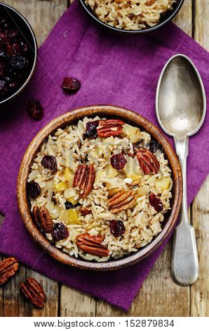 Apple Pecan dried cranberries and brown wild rice.