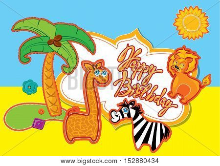 Happy Birthday card with cartoon animals and handwritten text picture for children.