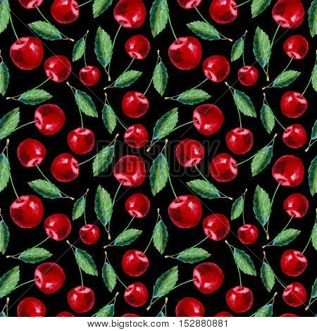 Seamless pattern with cherry.Food picture.Watercolor hand drawn illustration.Black background.