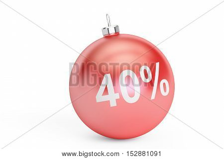 Christmas Sale 40% concept 3D rendering isolated on white background