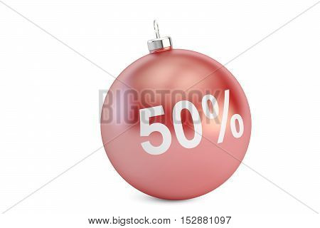 Christmas Sale 50% concept 3D rendering isolated on white background