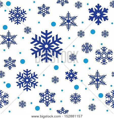 Seamless pattern of blue snowflakes on white background. Snowfall stylized wrapping texture. Winter repeating backdrop. Falling snow vector illustration in eps8.