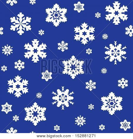 Seamless pattern of white snowflakes on blue background. Snowfall stylized wrapping texture. Winter repeating backdrop. Falling snow vector illustration in eps8.