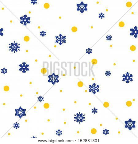 Seamless pattern of blue snowflakes and yellow circles on white background. Snowfall stylized wrapping texture. Winter repeating backdrop. Falling snow vector illustration in eps8.