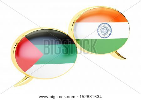 Speech bubbles Arabian-Indian translation concept. 3D rendering