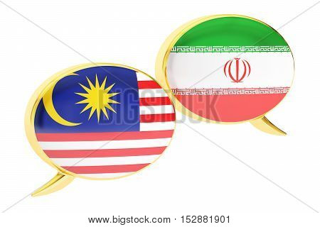 Speech bubbles Malaysian-Iranian translation concept. 3D rendering