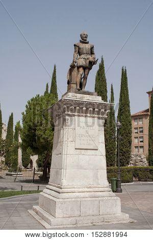 Cervantes monument in Valladolid Castilla y Leon Spain