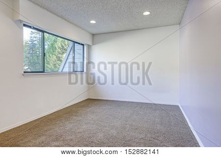 Pale Purple Contrast Wall In Empty Room